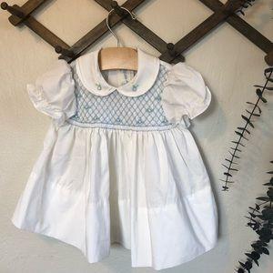 Vintage smocked angel baby white dress sz 12mo